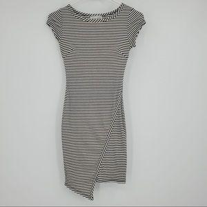 Black Bead Striped Mini Dress Body Con Black White